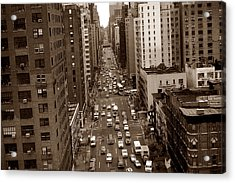 Old New York Photo - 10th Avenue Traffic Acrylic Print
