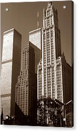 Old New York Photo - Woolworth Building And World Trade Center Acrylic Print