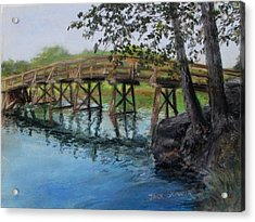 Old North Bridge In Pastel Acrylic Print by Jack Skinner