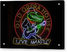 Old Opera House Neon Sign Acrylic Print by Garry Gay