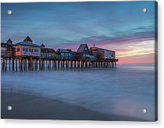 Old Orcharch Beach Pier Sunrise Acrylic Print