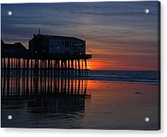 Old Orchard Beach Sunrise Acrylic Print by Laurie Breton