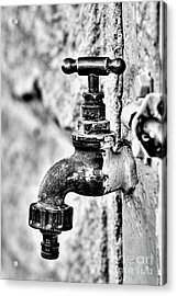 Old Outdoor Tap - Black And White Acrylic Print