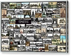 Old Paris Collage Acrylic Print by Janos Kovac