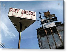 Old Pay Here Parking Sign Vintage Decay Acrylic Print