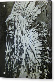 Old Person Acrylic Print by Michael Lee Summers