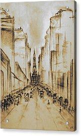 Old Philadelphia City Hall 1920 - Vintage Art Acrylic Print by Art America Online Gallery