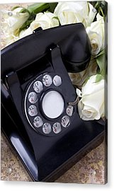 Old Phone And White Roses Acrylic Print by Garry Gay