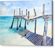 Old Pier On Playa Paraiso Acrylic Print