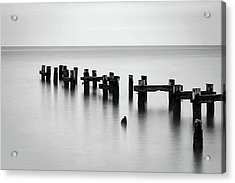 Old Pilings Black And White Acrylic Print