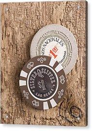 Old Poker Chips Acrylic Print by Edward Fielding