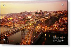 old Porto at  Pink Sunset, Portugal Acrylic Print