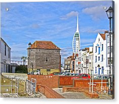 Old Portsmouth Flood Gates Acrylic Print by Terri Waters