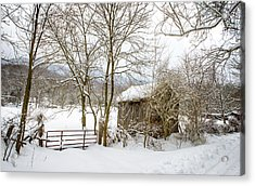 Old Post Office In Snow Acrylic Print