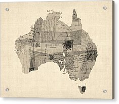 Old Postcard Map Of Australia Map Acrylic Print by Michael Tompsett