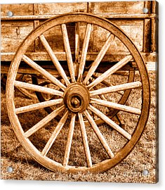 Old Prairie Schooner Wheel - Sepia Acrylic Print by Olivier Le Queinec