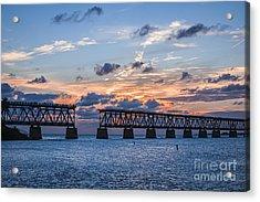 Old Rail Bridge At Florida Keys Acrylic Print by Elena Elisseeva