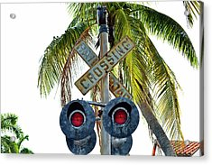 Old Railroad Crossing Sign Acrylic Print