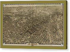 Old Rare Los Angeles Map Acrylic Print by Pd