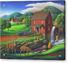 Old Red Appalachian Grist Mill Rural Landscape Oil Painting  Acrylic Print