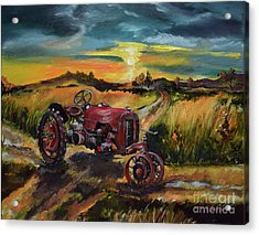 Old Red At Sunset - Tractor Acrylic Print