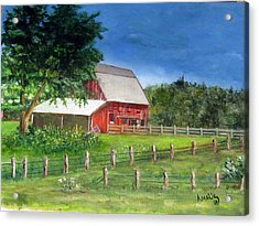 Old Red Barn Acrylic Print by Amelie Gates