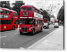 Old Red Bus Bw Acrylic Print