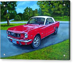 Old Red Mustang Car Acrylic Print