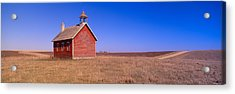 Old Red Schoolhouse On Prairie, Battle Acrylic Print by Panoramic Images
