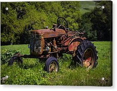 Old Red Tractor Acrylic Print by Garry Gay