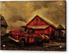 Old Red Truck And Barn Acrylic Print by Bill Cannon