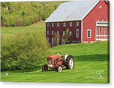Acrylic Print featuring the photograph Old Red Vintage Ford Tractor On A Farm In Enfield Nh by Edward Fielding