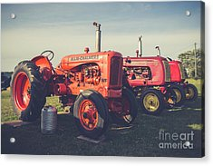 Old Red Vintage Tractors Prince Edward Island  Acrylic Print by Edward Fielding