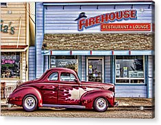 Old Roadster - Red Acrylic Print by Carol Leigh