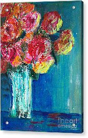 Old Roses Acrylic Print by Veronica Rickard
