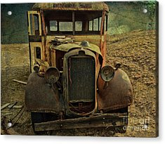 Old Rusted Wrecked Bus  Acrylic Print