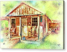 Acrylic Print featuring the painting Old Rustic House In The Mountains Ap by Dan Carmichael
