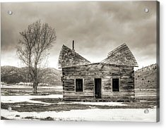 Old Rustic Log Cabin In The Snow Acrylic Print