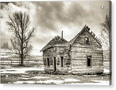 Old Rustic Log House In The Snow Acrylic Print