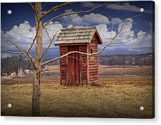 Old Rustic Wooden Outhouse In West Michigan Acrylic Print