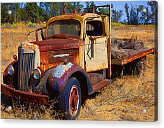 Old Rusting Flatbed Truck Acrylic Print by Garry Gay
