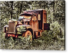 Old Rusty Truck In The Woods - Jocassee Acrylic Print by Dan Carmichael