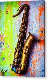 Old Sax On Worn Table Acrylic Print by Garry Gay