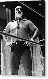 Old School Masked Wrestler Luchador Acrylic Print by Jim Fitzpatrick