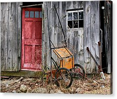 Old Shed Red Door And Pony Cart Acrylic Print by Betty  Pauwels