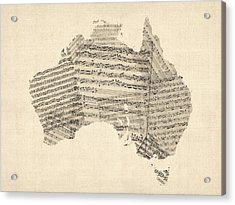 Old Sheet Music Map Of Australia Map Acrylic Print by Michael Tompsett
