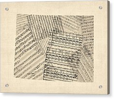 Old Sheet Music Map Of Colorado Acrylic Print by Michael Tompsett