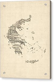Old Sheet Music Map Of Greece Map Acrylic Print
