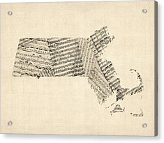 Old Sheet Music Map Of Massachusetts Acrylic Print by Michael Tompsett