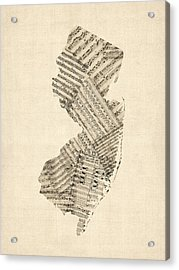 Old Sheet Music Map Of New Jersey Acrylic Print by Michael Tompsett